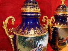 Pair Cobalt Blue Porcelain Dore Bronze Hand Painted