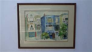 """""""Row Houses"""" Original Painting Signed M. Andrew"""