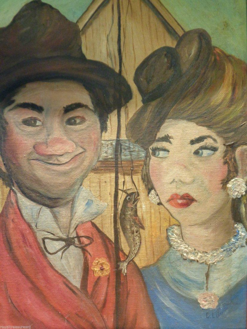 G.Long Signed Vintage Original Cartoon large Framed Oil