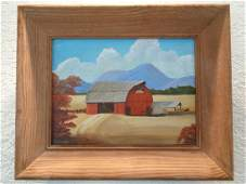 Signed J Holmes The Barn Vintage Original Oil