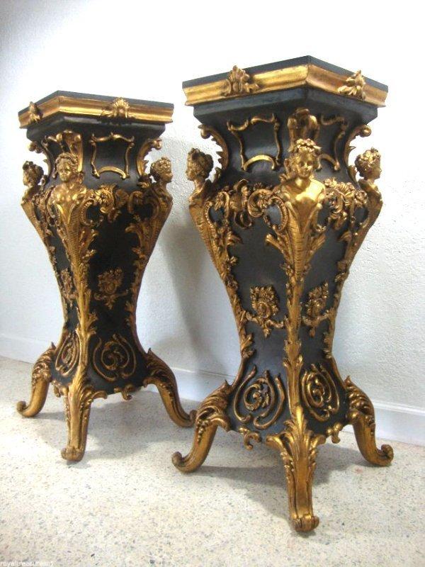 """Pair Black Marble Top Table Pedestal 37"""" H"""