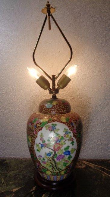 "Asian Midcentury Chinese Ginger Jar 28"" Table Lamp"