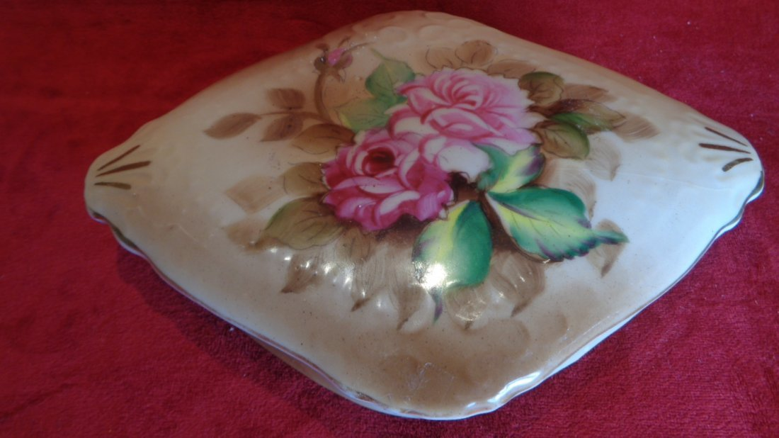 Hand Painted Rose Porcelain Jewelry Box