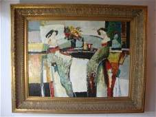 Outdoor Cafe Scene Lady Pallete Abstract Framed Oil