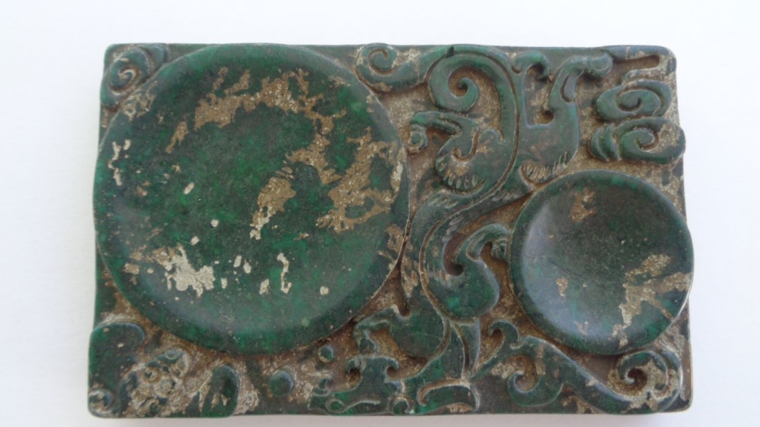 Antique Chinese Old natural Green Jade Carved Ink Stone