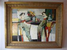 Asian Cafe Lady Pallete Abstract Framed Oil Painting