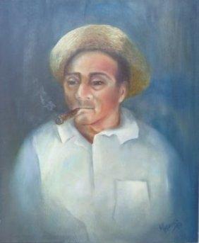 Old Man Smoking Cuban Cigar Original Painting Signed