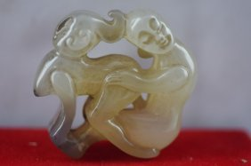 Chinese Jade Pendant Old Hand-carved