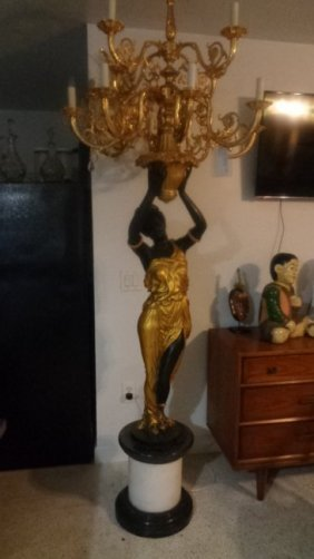 Bronze Lady Blackamoor Lamp Architectural Statue Europe