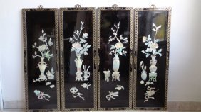 Four Chinese Inlaid Mother Of Pearl Wall Plaque