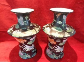 Pair Asian Black Floral Butterfly Bird Fish