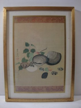 Hand Crafted Chinese Gold Leaf Lithograph Framed Print
