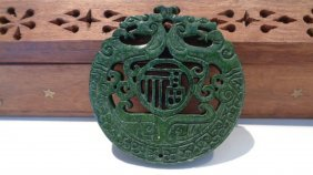 Green Jade Carved Dragon Pendant
