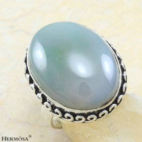 Lovely Glossy Oval Agate Vintage Beauty 925 Sterling