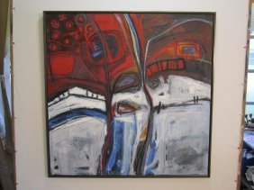 Abstract Figurative Original Painting On Canvas Signed
