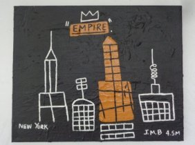 """Basquiat Style """"empire""""painting Acrylic On Canvas."""