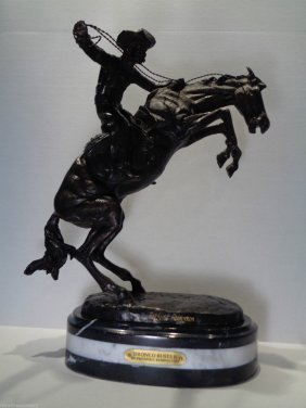 "Large Remington ""bronco Buster"" Bronze Statue"