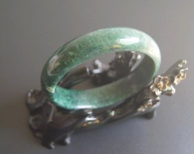 Hand Carved Jade Bangle Green And White Bangle