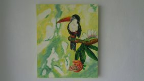 Original Oil Painting On Canvas Signed-tropical Bird To