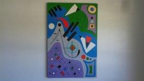 Original Acrylic Abstract Geometric Painting On Canvas