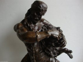 "185 Man Fight With Lion Large Bronze Statue 20""h"