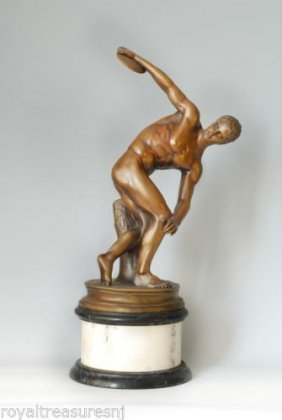 """Discus Thrower Bronze Statue - Signed -greek. 24""""1/2 H"""