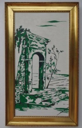 Vintage Original Signed Oil Painting-lemon Gold Frame