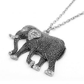 Clear Crystal Tibetan Silver Black Elephant Chain