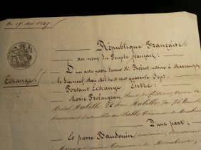 1847 Antique French Document