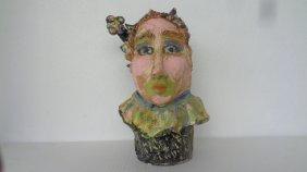 Lois B Herrick Whimsical Ceramic 3d Sculpture ( Clown )