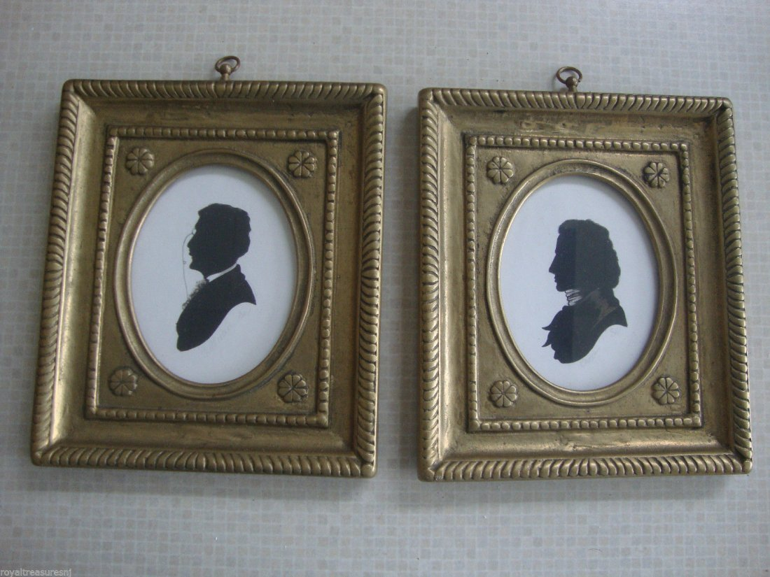 Pair American Folk Art Silhouette Hand-Signed