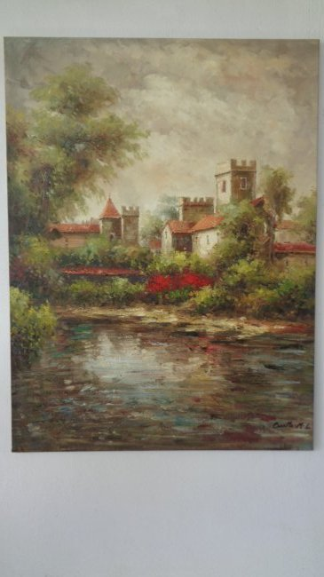 Large Hand Painted Oil Painting-Castle Landscaping-1402