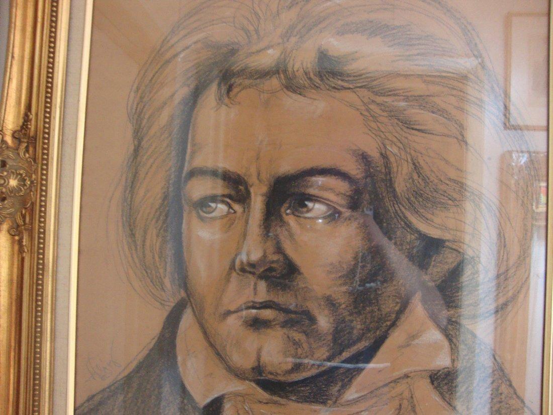 Ludwig Van Beethoven Original Drawing Charcoal