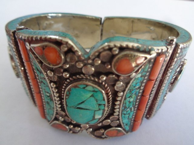TURQUOISE & RED CORAL  .925 SILVER Cuff