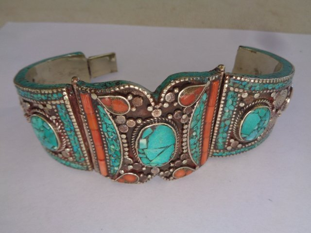TURQUOISE & RED CORAL  .925 SILVER Cuff - 2
