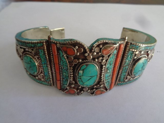 TURQUOISE & RED CORAL  .925 SILVER Cuff - 3