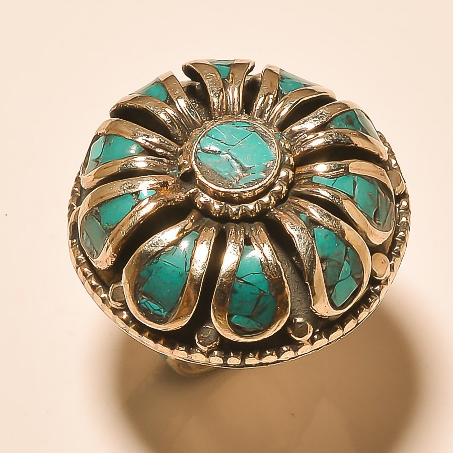 TURQUOISE  .925 SILVER Ring S- 8.25