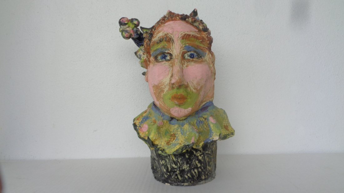 Lois B Herrick Whimsical ceramic 3D sculpture ( Clown )