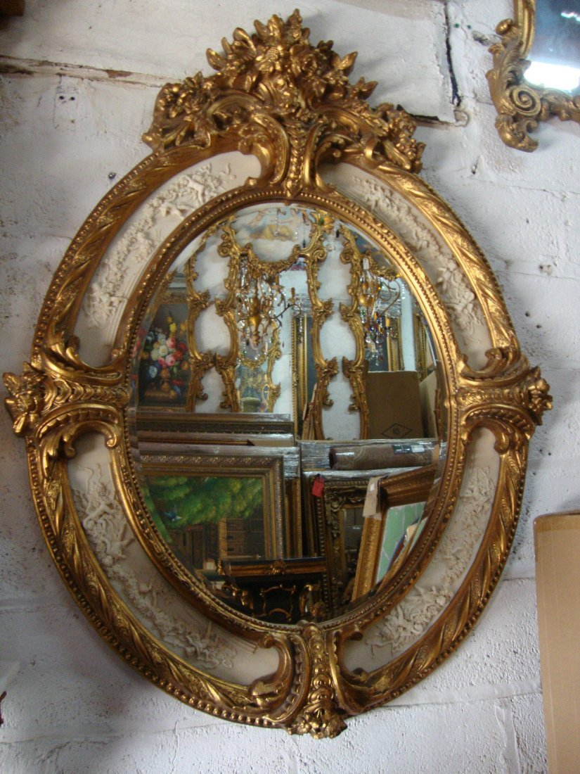 Gold Leaf Oval Four Plaque Angels Mirror