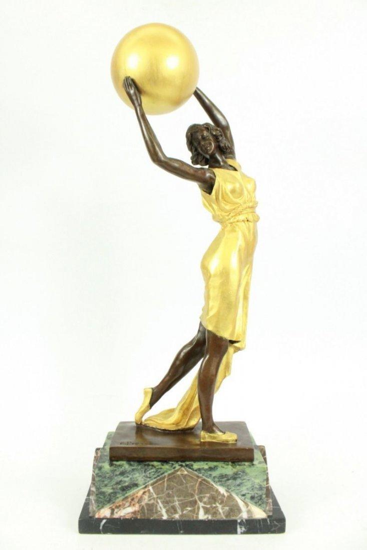Signed Preiss Art Nouveau Deco Gilt Ha Statue Figurine