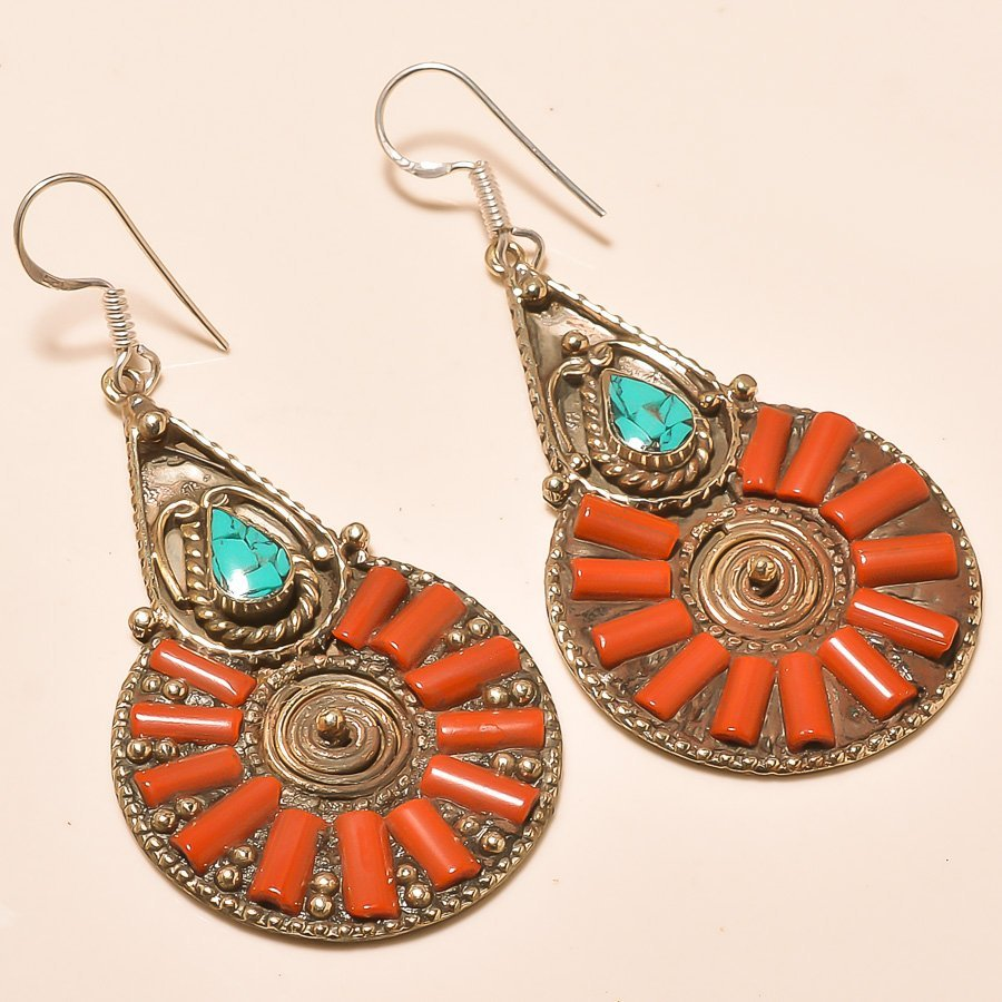 TURQUOISE & RED CORAL. 925 SILVER EARRING