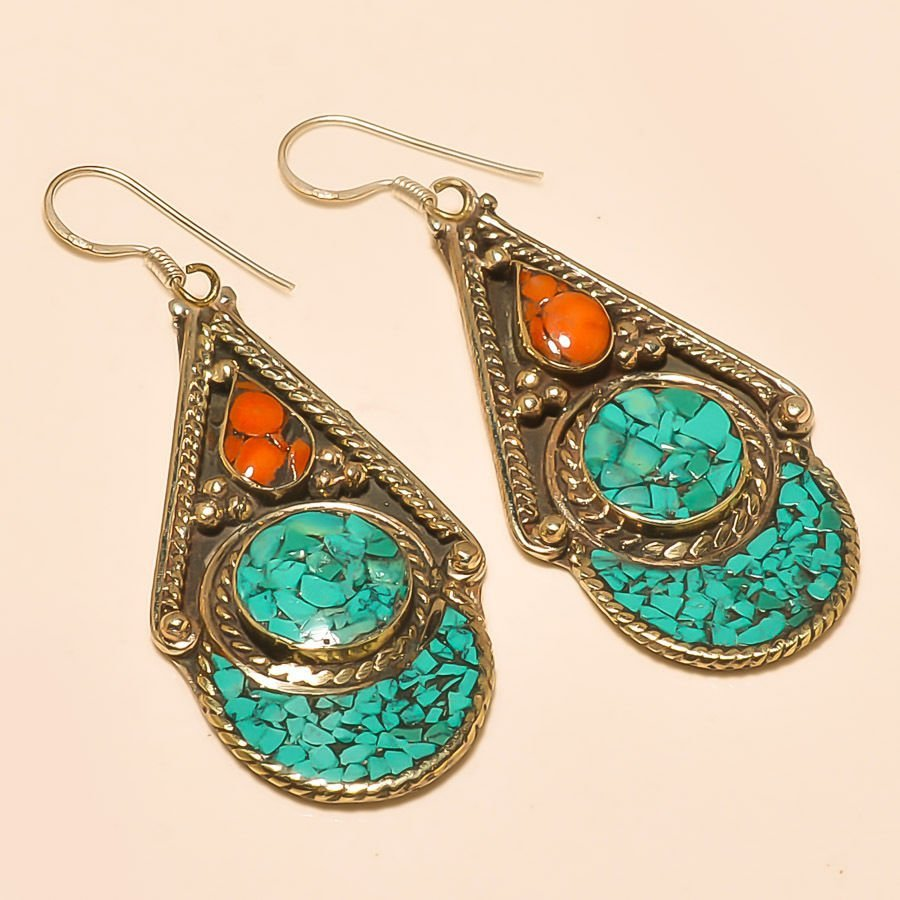 Red Coral & Turquoise -925 Silver Earring
