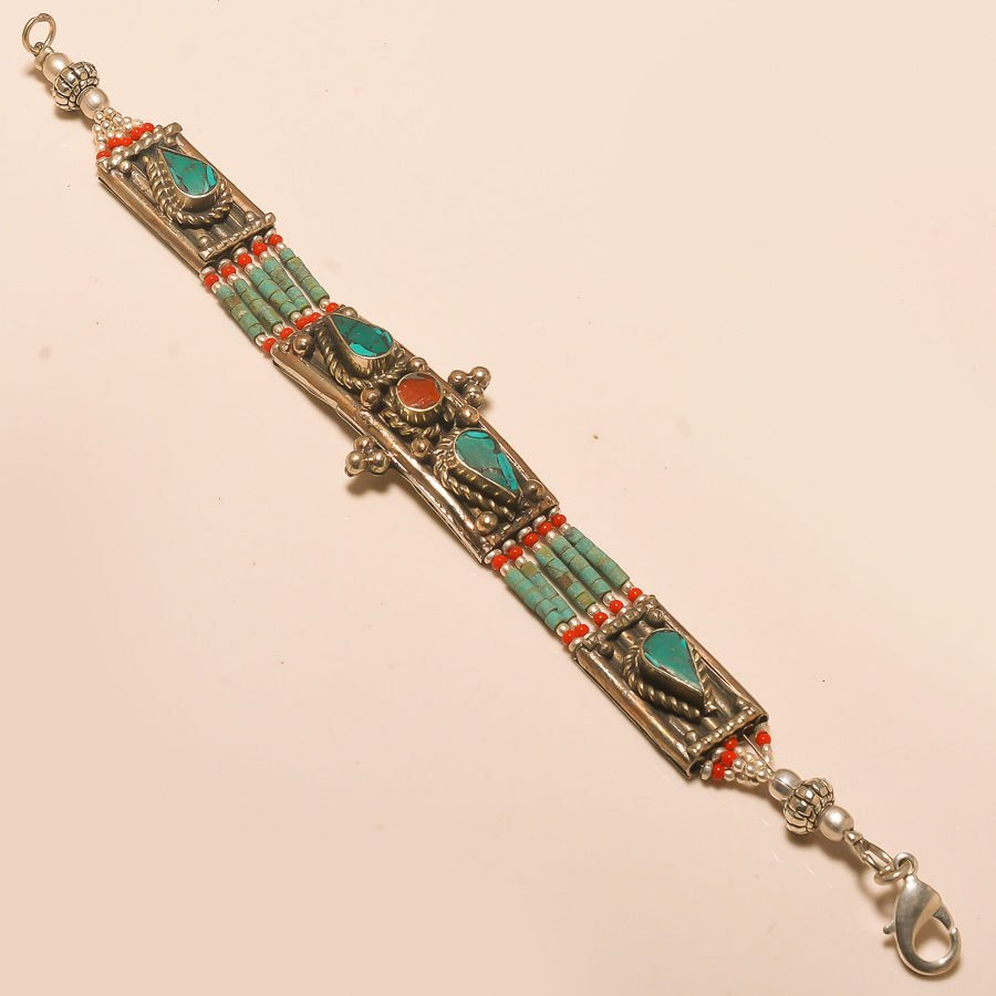 TURQUOISE & RED CORAL .925 SILVER BRACELET