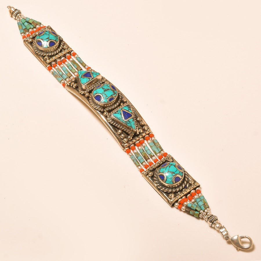 TURQUOISE WITH RED CORAL .925 SILVER Bracelet