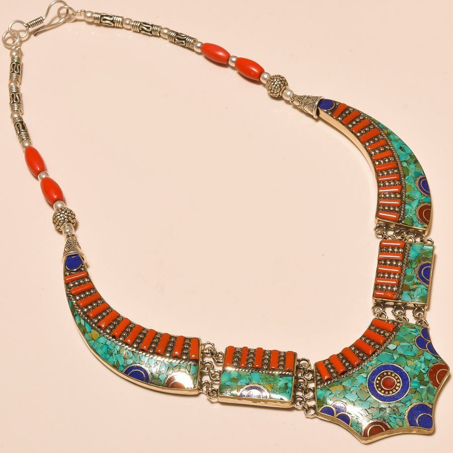 TURQUOISE & RED CORAL WITH LAPIS LAZULI. 925 Necklace
