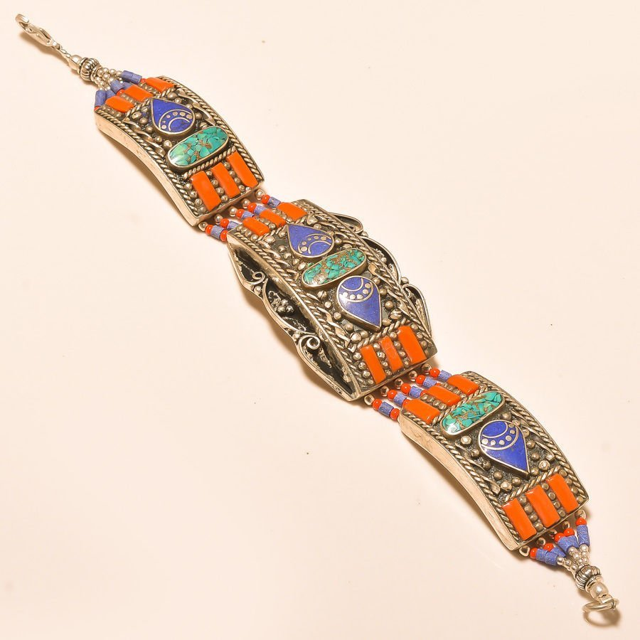 TURQUOISE & RED CORAL- LAPIS LAZULI .925 Bracelet