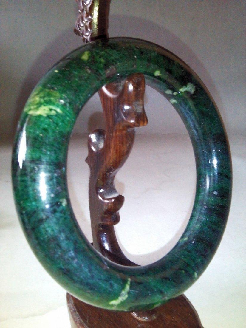 Vintage Hand-carved green jade bracelet Bangle