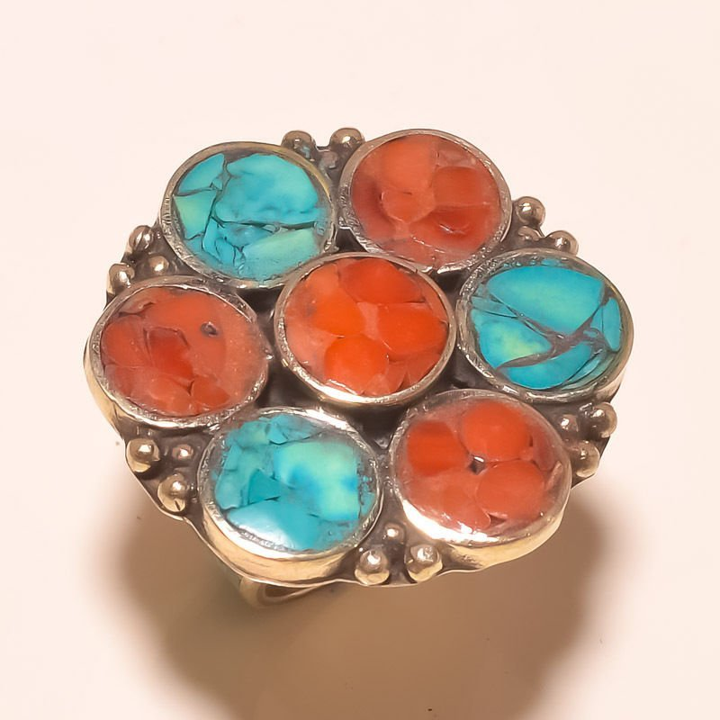 TURQUOISE & RED CORAL VERY  .925 SILVER RING S