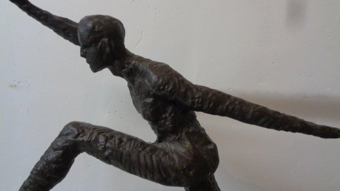 "Contemptorary Sculpture""Running Man""on Marble Base"