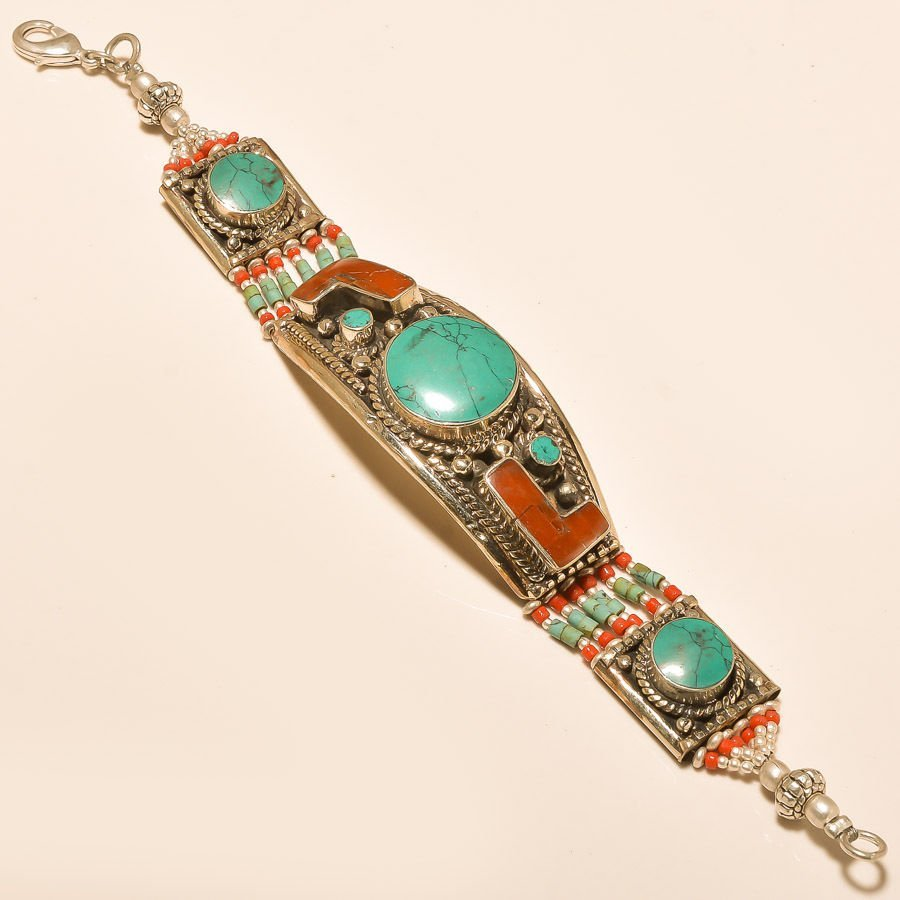 925 Silver - Turquoise, Coral bracelet